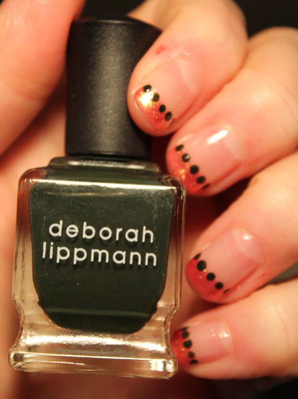 My cute little green dots made with Deborah Lippmann's very dark green Billionaire.