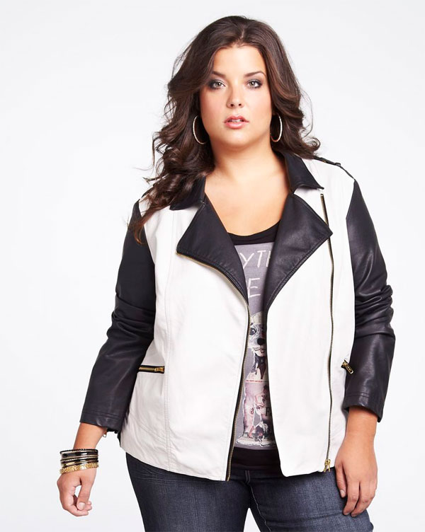 Two tone black and white faux leather jacket is from Addition-Elle.
