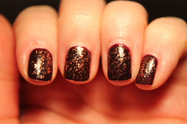 My Pat on the Black nails with a top coat of Sally Hansen Copper Penny.