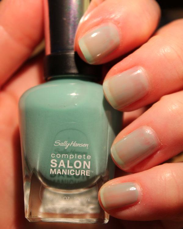 My nails with 1 coat of jaded nail polish from Sally Hansen.