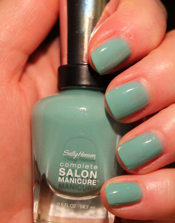 My nails with 3 coats of Sally Hansen Jaded.