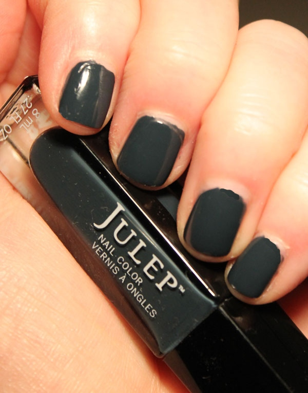 My nails are covered with Julep's blue grey nail polish called Josephine.