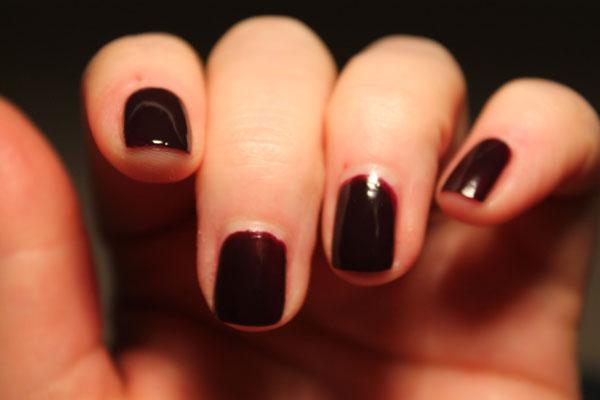 The plum black nail polish from Sally Hansen.