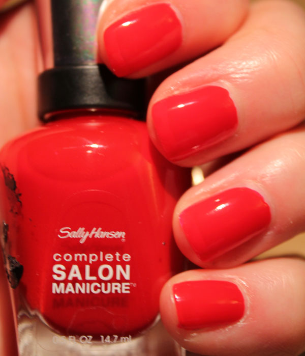 My nails with two coats of Sally Hansen's Red My Lips nail polish.