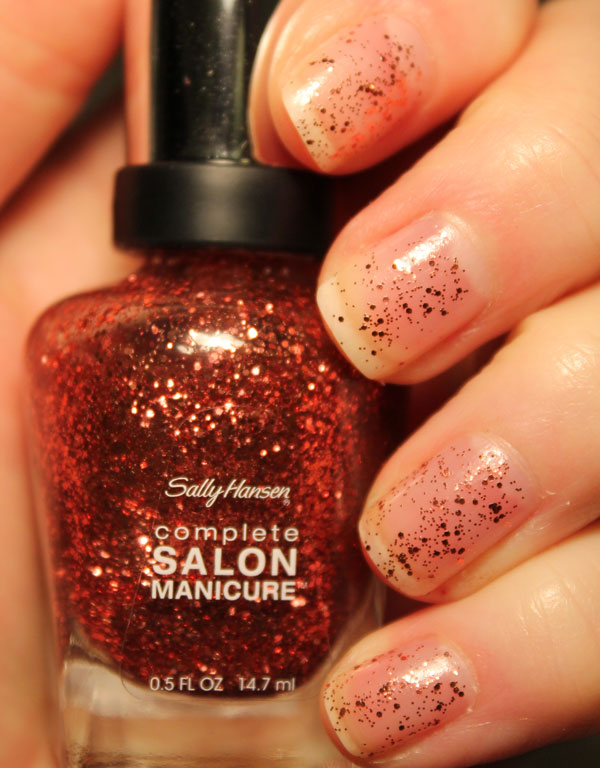 My nails with a simple top coat of Sally Hansen's copper penny.