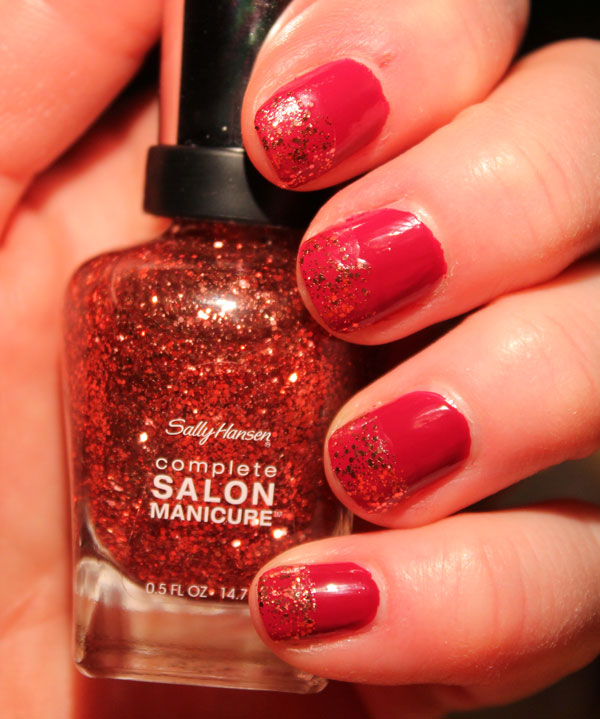 My nails with Avon's Racy red under Copper Penny top coat.