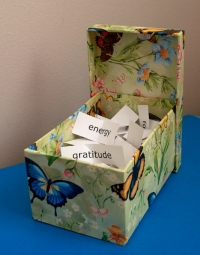 The thought box I created using a decorated box.