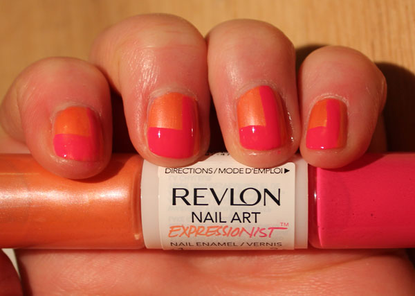 My color blocked nails with Revlon's Expressionist nail art in Pinkcasso.