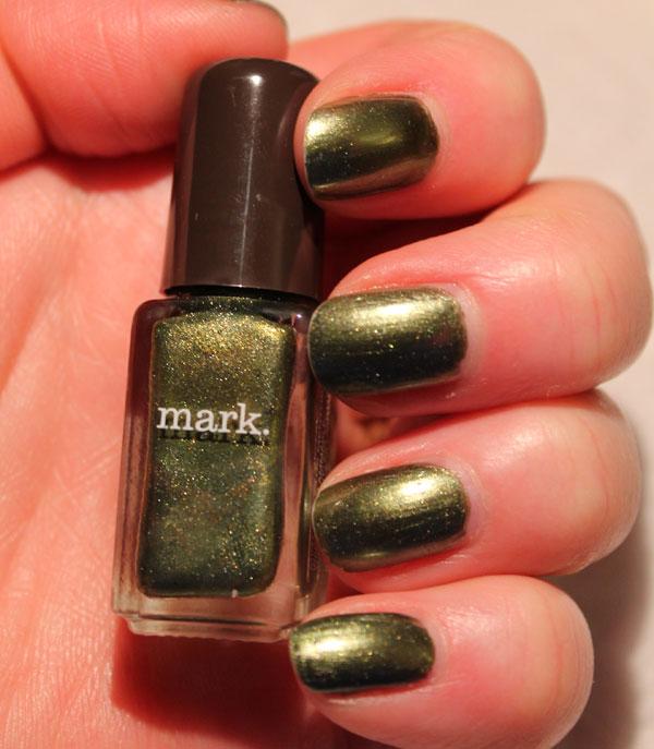 Testing out Avon's Mint Tea nail polish.