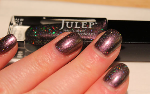 A holographic shimmer in artificial light.