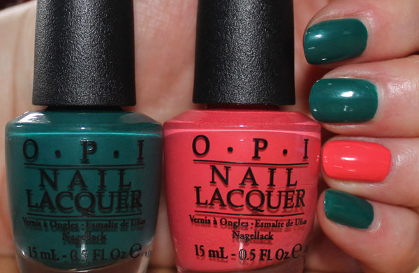 Having fun with OPI's Brazil inspired nail polish collection.