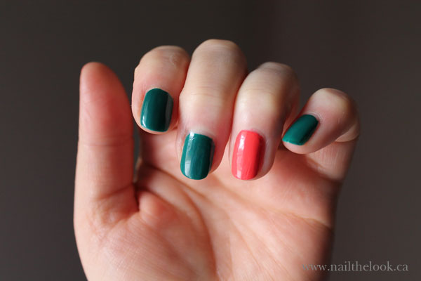 I experimented with two colors from OPI's Brazil inspired nail polish.