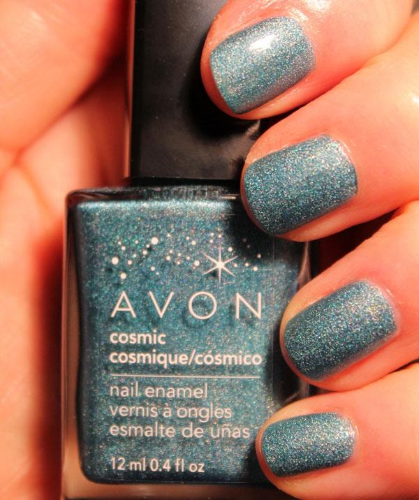 Bright blue Galaxy nail polish.