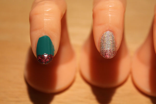 Ruby glitter on tips of green and silver.