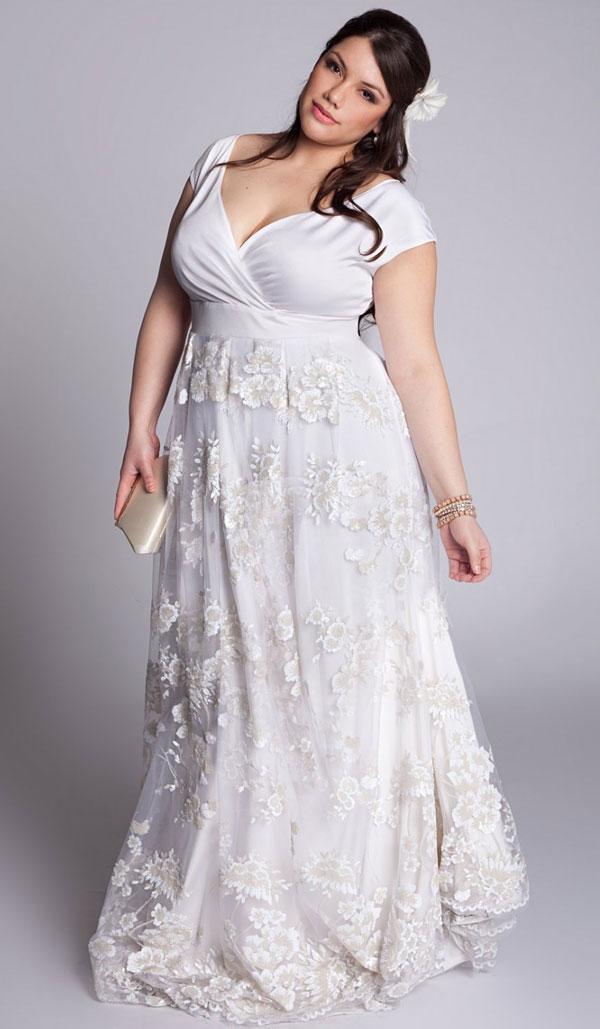A full length wedding gown.