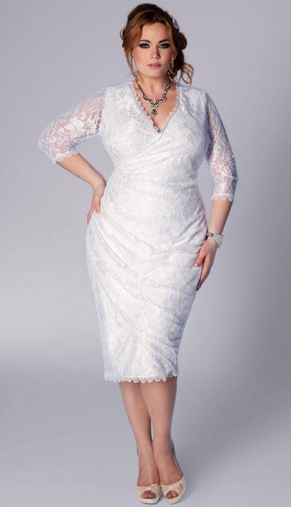 A knee length wedding dress.