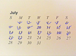 Use a print out calendar to track your chain method writing. It can slip into your regular day planner.