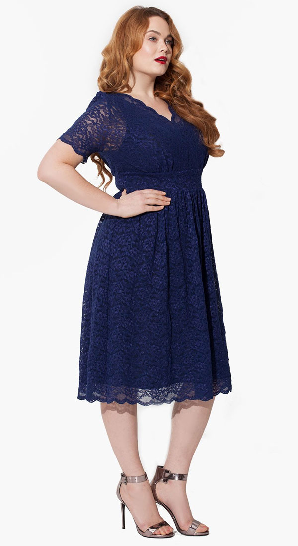 Short allover lace bridesmaid dress.