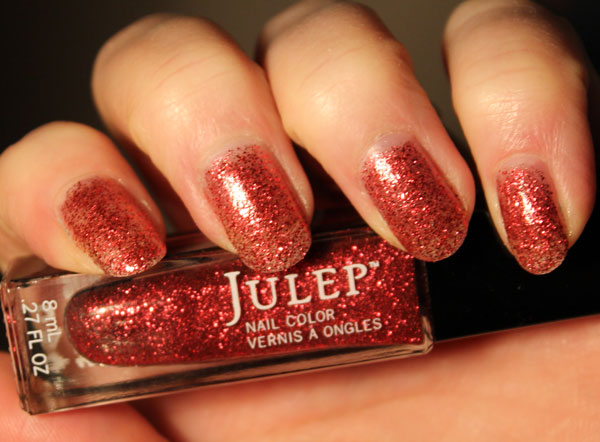 A bright red glitter nail polish from Julep called Ruby Slippers.