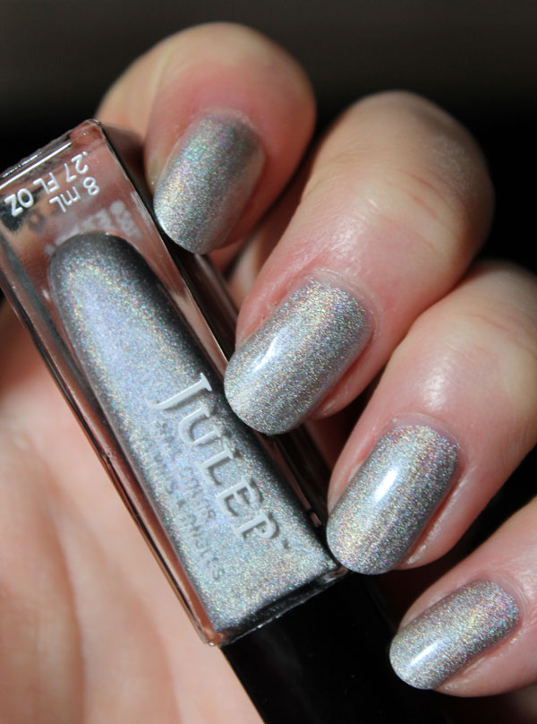 My nails wearing the silver nail polish from Julep's Wizard of Oz collection.