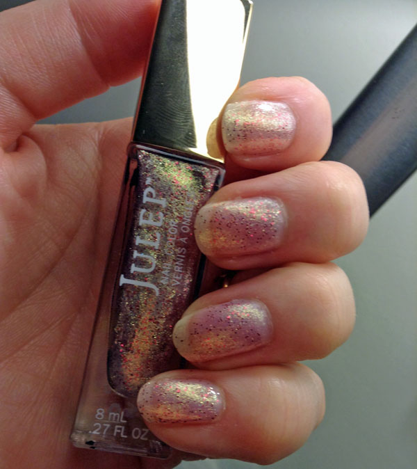 My nails with one coat of Julep's special edition Love microglitter.