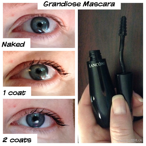 My eyes with Grandiose mascara in one and two coats.