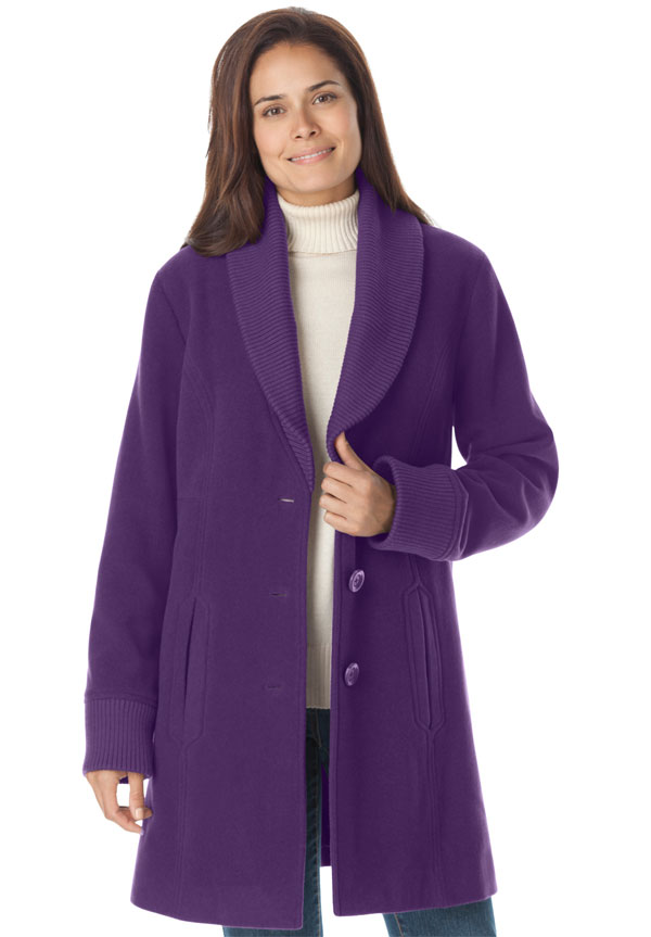 Purple, purple, rah, rah, rah, ooooo, I love purple. Including this purple coat from Woman Within. Good price too.