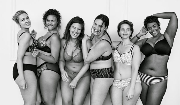Full-figure models showing off Lane Bryant's Cacique line for #ImNoAngel campaign.