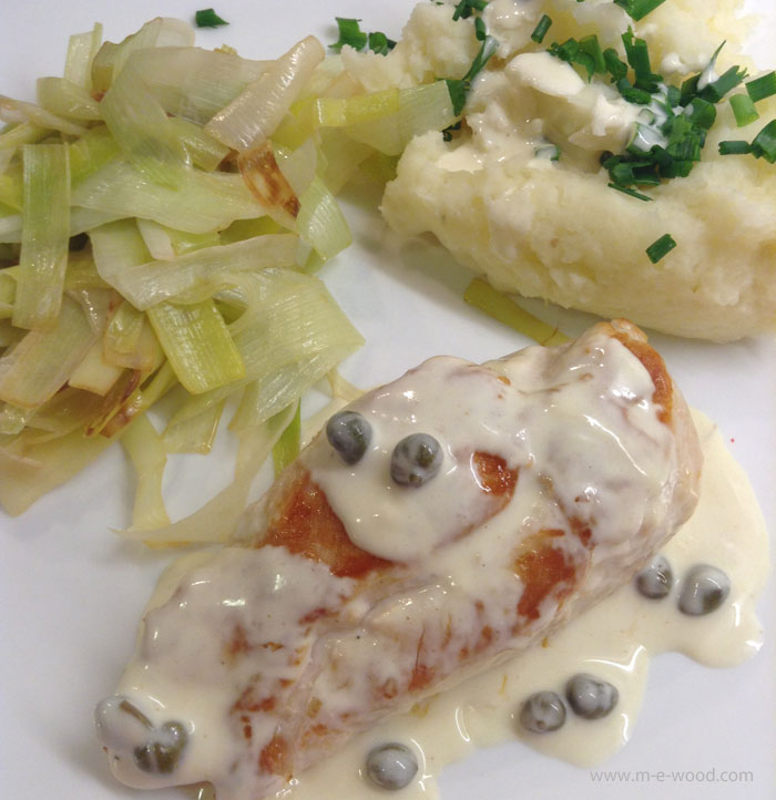 Chicken with cream sauce and capers with a side of mash and leek salad. From Chef's Plate.