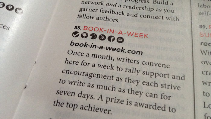 Book-in-a-Week.com made the 101 Best Websites for Writers list in Writer's Digest.