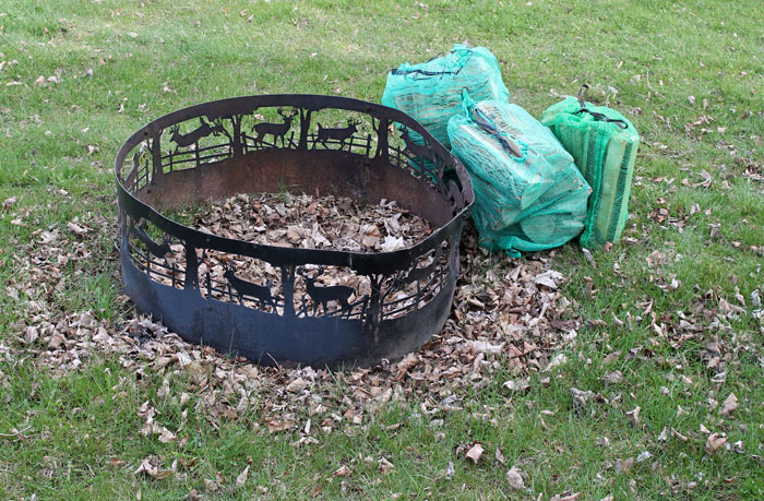The fire pit with two bags of wood and kindling.