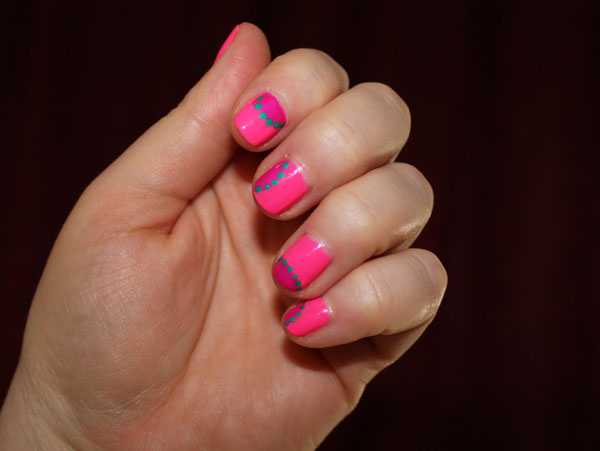 My nails hopped up on pink polish.