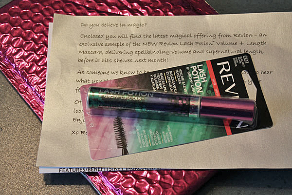 A surprise package from Revlon in a bright pink metallic bubble wrap.
