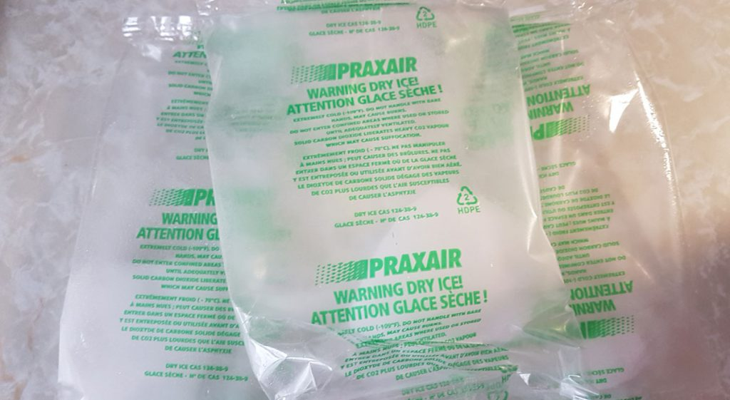 Dry ice packets.
